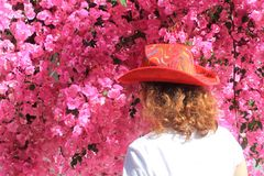 Girl in cowboy`s hat in front of pink flowers stock images