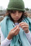 Girl with a crab Royalty Free Stock Photos