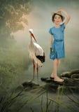 Girl and Crane Stock Image