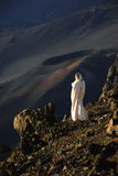 The girl at craters of Haleakala. Stock Images