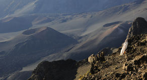 The girl at craters of Haleakala. Royalty Free Stock Photo