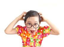 Girl with crazy face royalty free stock photos