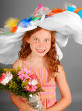 Girl in Crazy Hat Stock Photography