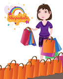 Girl crazy shopping bag Stock Photography