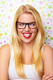 Girl with crazy smile Stock Images