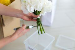 Girl creates a white bouquet. Woman creates white bouquet indoor royalty free stock photos