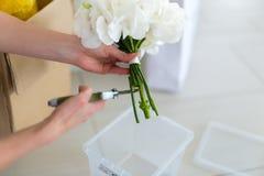 Girl creates a white bouquet Royalty Free Stock Photos