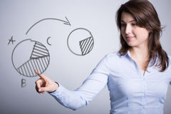 Girl creating a pie chart Royalty Free Stock Photos