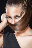 Girl with creative face art Stock Photo