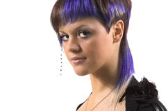 The girl with a creative hair Stock Photography