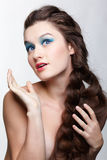 Girl with creative hair-do Stock Images