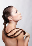 Girl with creative hair-do Royalty Free Stock Images