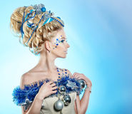 Girl with creative hair style Christmas Stock Image
