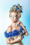 Girl with creative hair style Christmas Stock Photos