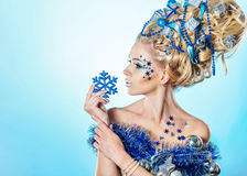 Girl with creative hair style Christmas Royalty Free Stock Image