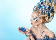 Girl with creative hair style Christmas Stock Image