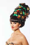 Girl with creative hair style Christmas Royalty Free Stock Photography