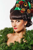 Girl with creative hair style Christmas Royalty Free Stock Images