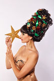 Girl with creative hair style Christmas Stock Photography