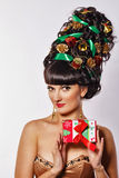 Girl with creative hair style Christmas Royalty Free Stock Photo