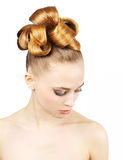 Girl with creative hairstyle Royalty Free Stock Photography