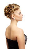 Girl with creative hairstyle on white Royalty Free Stock Photo