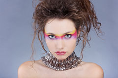 Girl with creative make-up Stock Images
