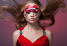 girl with creative make-up on her face Royalty Free Stock Image