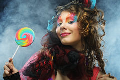 Girl with with creative make-up Stock Photography