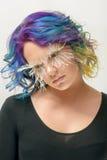 Girl with creative make up, very long false eyelashes and professional hair colouring Stock Photos
