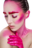 Girl with creative pink make up Royalty Free Stock Photo