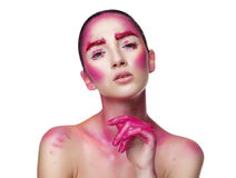 Girl with creative pink make up Royalty Free Stock Image
