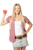 Girl with credit card Royalty Free Stock Image