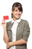 Girl with credit card Stock Images