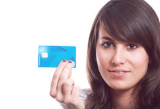 Girl with credit card in hand Royalty Free Stock Images