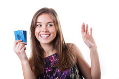 Girl with credit cards Royalty Free Stock Photography