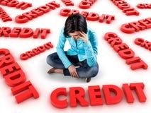 Girl among credits. Sad girl sits among many red credits stock image