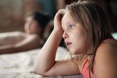 The girl cries Stock Images