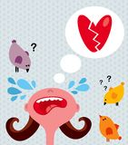 Girl cries about broken heart. Vector illustration of love story Stock Image