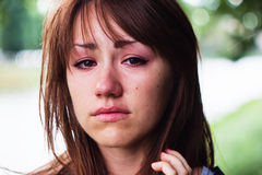 Girl cries Stock Image