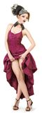 Girl in a crimson dress Royalty Free Stock Images