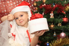 The girl in Cristmas Royalty Free Stock Photo