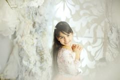 Girl in a Cristmas room Royalty Free Stock Photography