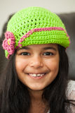 Girl in crocheted hat Royalty Free Stock Images