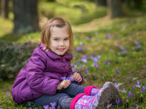 Girl with crocuses Royalty Free Stock Photos