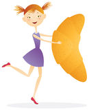 Girl with croissants. Color illustration Stock Image