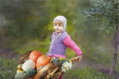 The Girl With a Crop. The girl keeps the wheelbarrow with a crop in a garden Stock Illustration