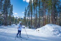 Free Girl Cross-country Skiing In Colorado. Stock Images - 160291064