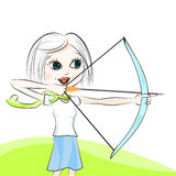 Girl with the crossbow Stock Photography