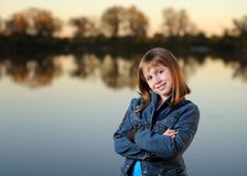 Girl with crossed arms Royalty Free Stock Photos